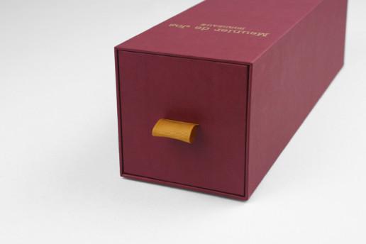 Коробка выдвижная подарочная под вино, заказ Meunier de Jos
